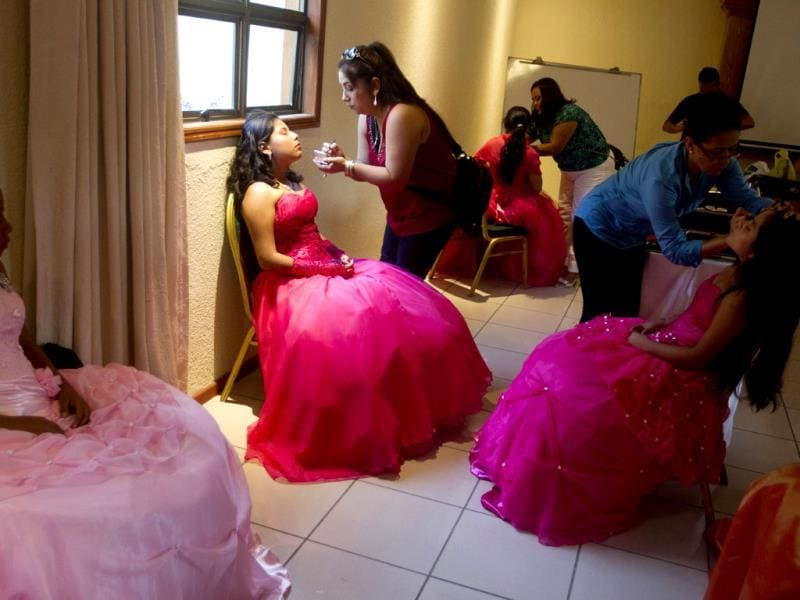 Nicaraguan girls suffering from cancer prepare for a 'quinceanera' party in Managua, Nicaragua. For each of the past five years, Nicaragua's Association of Mothers and Fathers of Children with Cancer and Leukemia has put on a