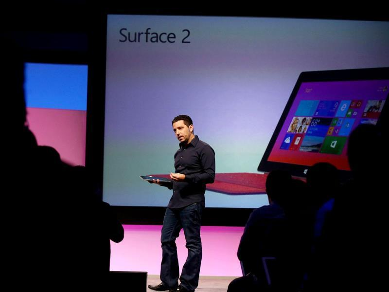 Panos Panay, Microsoft's VP of Surface, introduces introduces a second generation of Surface tablets in New York City. Photo: AFP/Spencer Platt/Getty Images