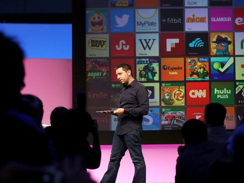 Panos Panay, Microsoft's VP of Surface, introduces introduces a second generation of Surface tablets in New York City. Photo:AFP/Spencer Platt/Getty Images