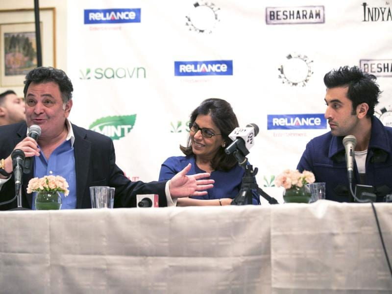 Ranbir Kapoor with parents Rishi and Neetu during a promotional event for their film Besharam in New York.