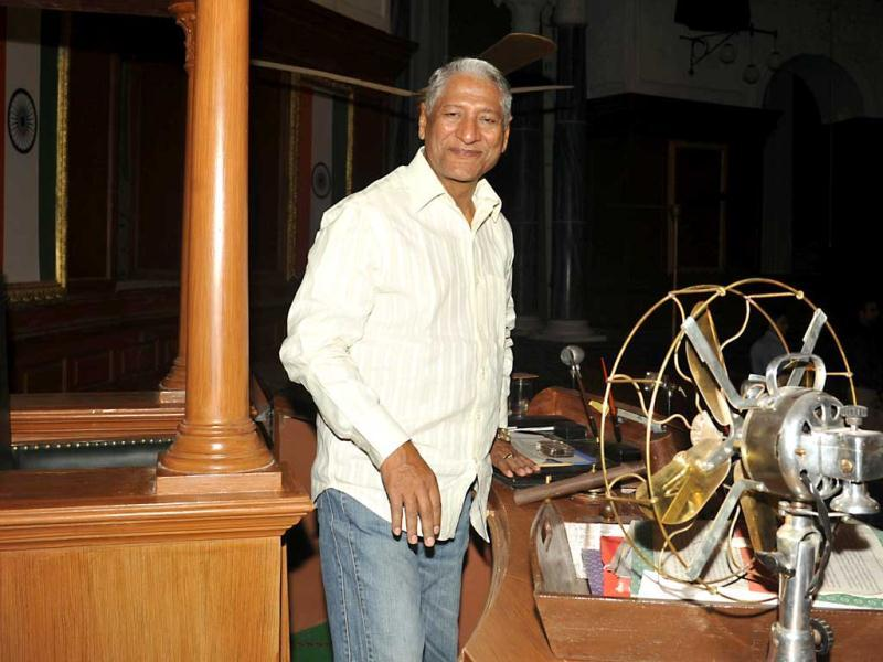 Actor Rajendra Gupta poses on the sets.