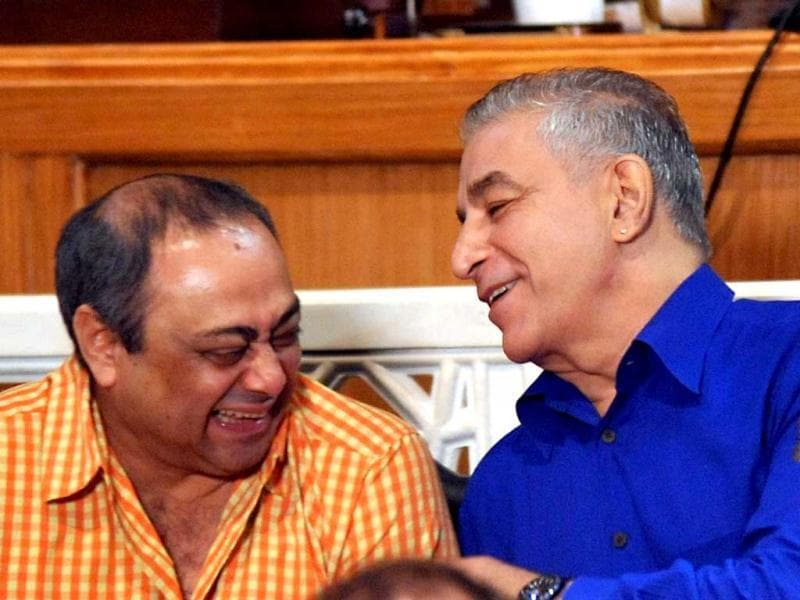 Sachin Khedekar shares a light moment with Dilip Tahil.
