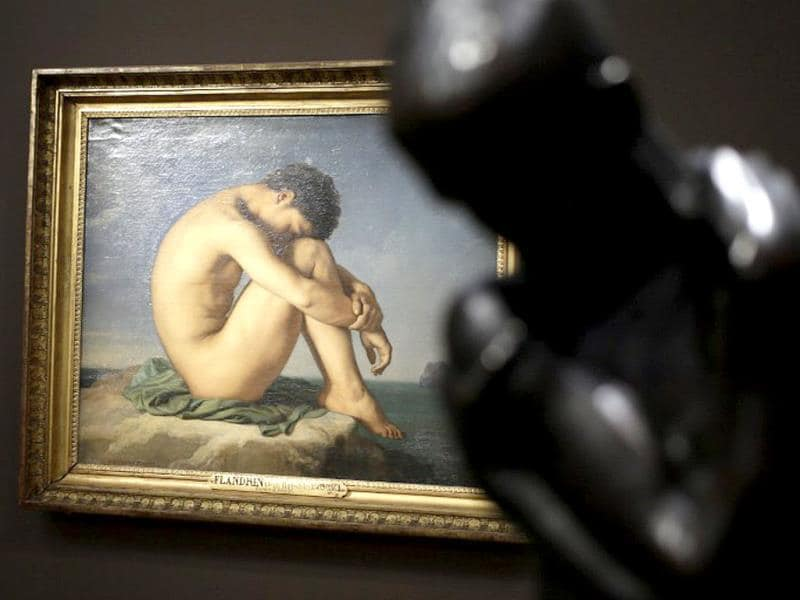 A painting by French artist Jean-Hippolyte Flandrin during the Masculin/Masculin exhibition at the Orsay Museum recently in Paris. (AFP Photo)
