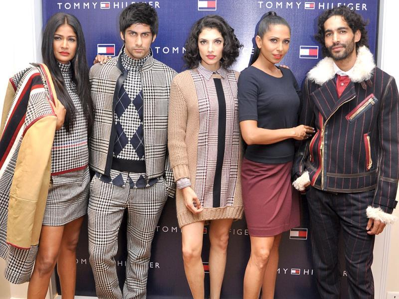 Models pose at the launch of Fall Holiday '13 collection.