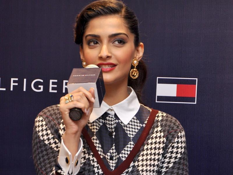 Sonam Kapoor looks like a school girl as she speaks at the event.