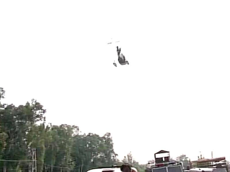 Recon choppers flying over Army HQ in Samba after militants stormed inside, killing several army personnel. (ANI Photo)