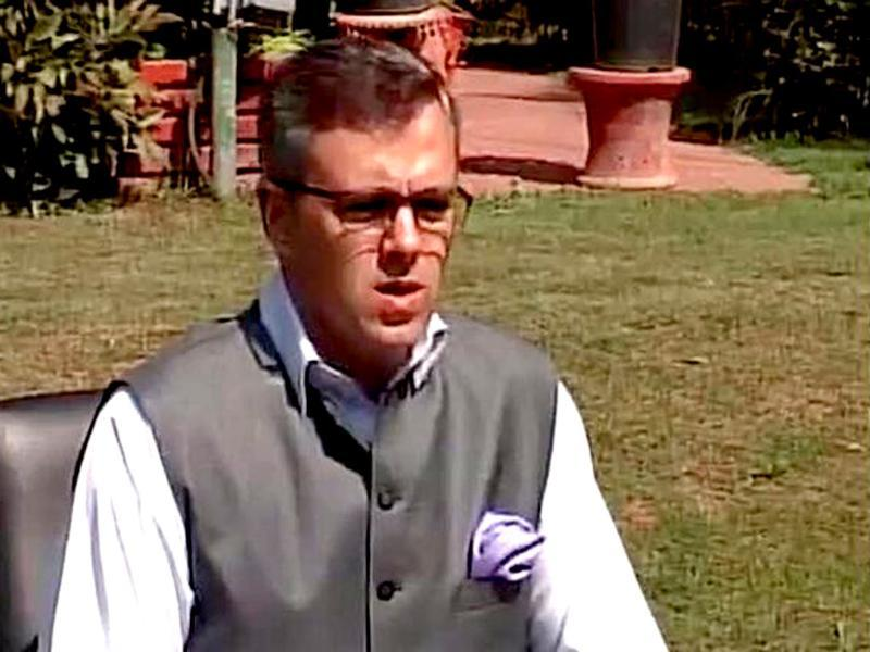 J-K chief minister Omar Abdullah speaks after the terrorist attacks. He said the aim of terrorists is to derail the proposed talks between India and Pakistan. (ANI Photo)