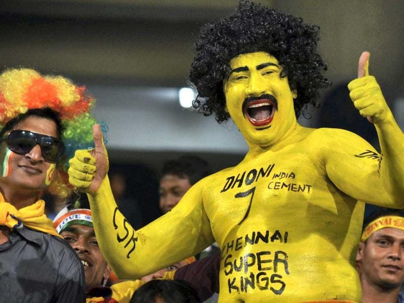 Chennai Super Kings supporters during the CL T20 match against Sunrisers Hyderabad at Jharkhand State Cricket Association (JSCA) Stadium in Ranchi. (PTI Photo)