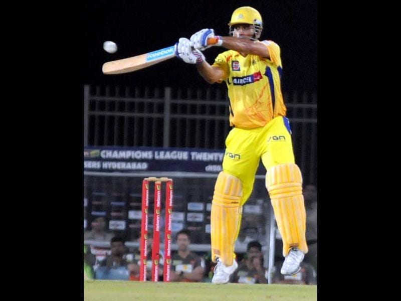 Chennai Super Kings captain MS Dhoni plays a shot during during the CL T20 match against Sunrisers Hyderabad in Ranchi. (PTI Photo)