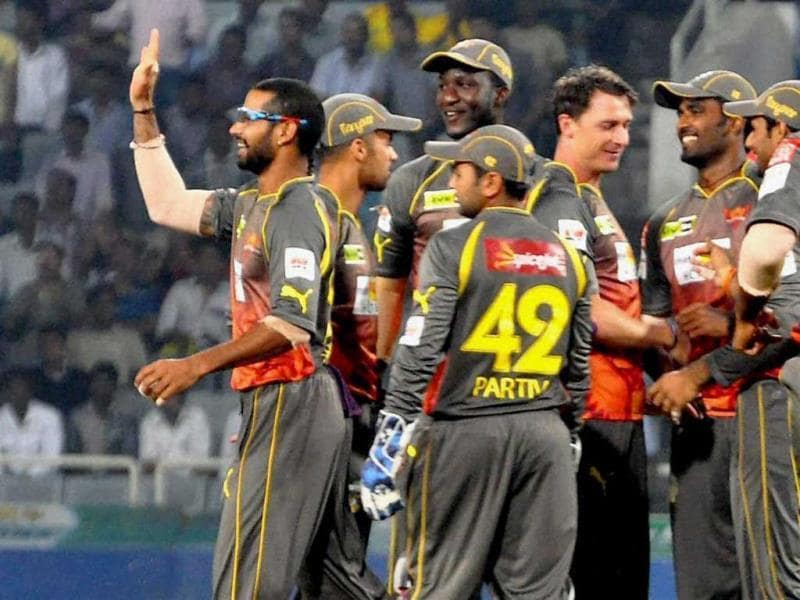Sunrisers Hyderabad players celebrate the wicket of a Chennai Super Kings' batsman during the CL T20 match at Jharkhand State Cricket Association (JSCA) Stadium in Ranchi. (PTI Photo)