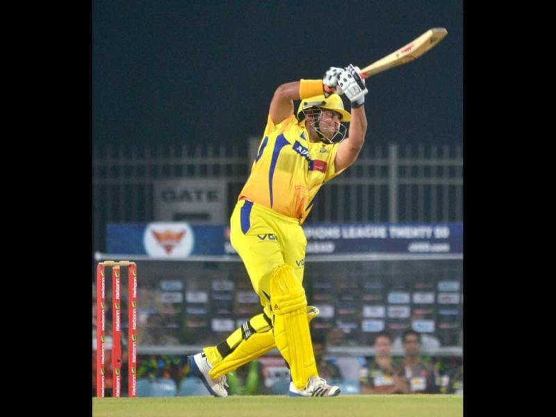 Chennai Super Kings batsman Suresh Raina plays a shot during the CL T20 match against Sunrisers Hyderabad in Ranchi. (PTI Photo)