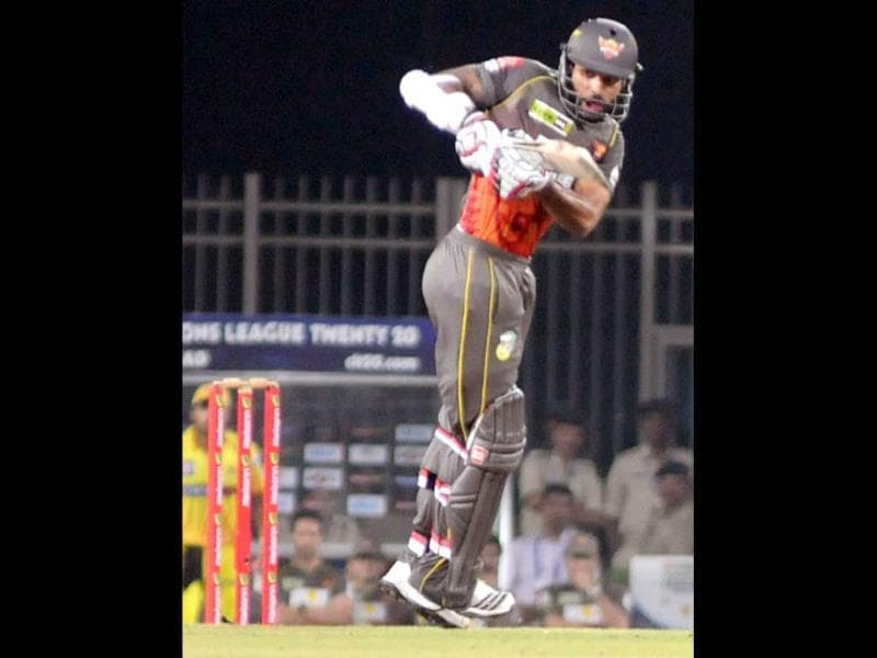 Sunrisers Hyderabad captain Shikhar Dhawan plays a shot during the CLT20 match against Chennai Super Kings in Ranchi. (PTI Photo)