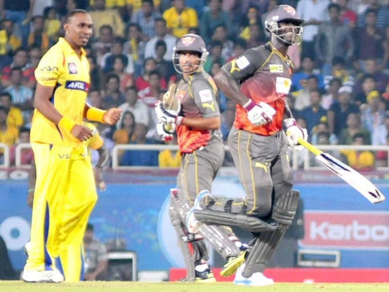 Sunrisers Hyderabad D Sammy takes a run during the CL T20 match against Chennai Super Kings in Ranchi. (PTI Photo)