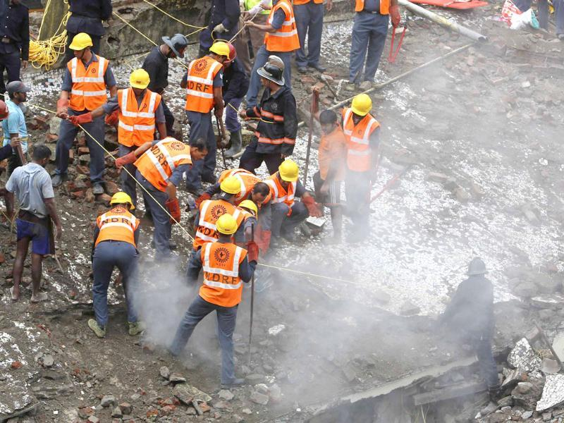 The five-storey apartment block collapsed on Friday in Mumbai, killing six people, with dozens feared trapped. (Reuters Photo)