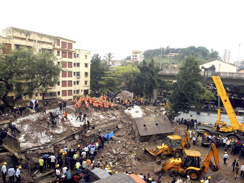 Dozens are feared trapped in the rubble of the collapsed BMC building in Mumbai. (Reuters Photo)
