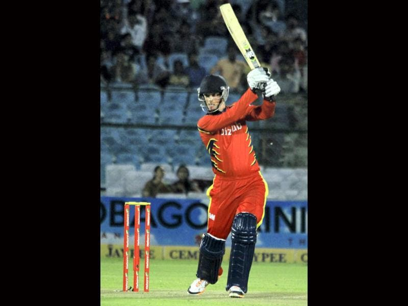 Highveld Lions batsman Rassie VD Dussen plays a shot during the CLT20 match against Mumbai Indians in Jaipur. (PTI Photo)