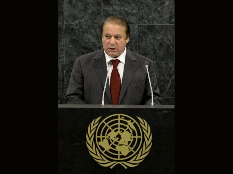 Pakistani prime minister Nawaz Sharif addresses the 68th United Nations General Assembly at UN headquarters in New York. (Reuters Photo)