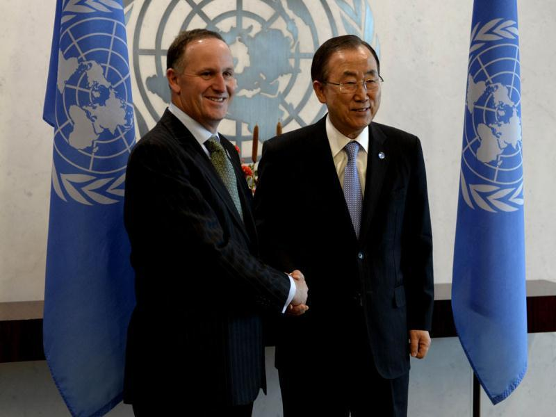 UN secretary-general Ban ki-moon with John Key, Prime Minister of New Zealand during the 68th session of the General Assembly at the UN in New York.  (AFP Photo)
