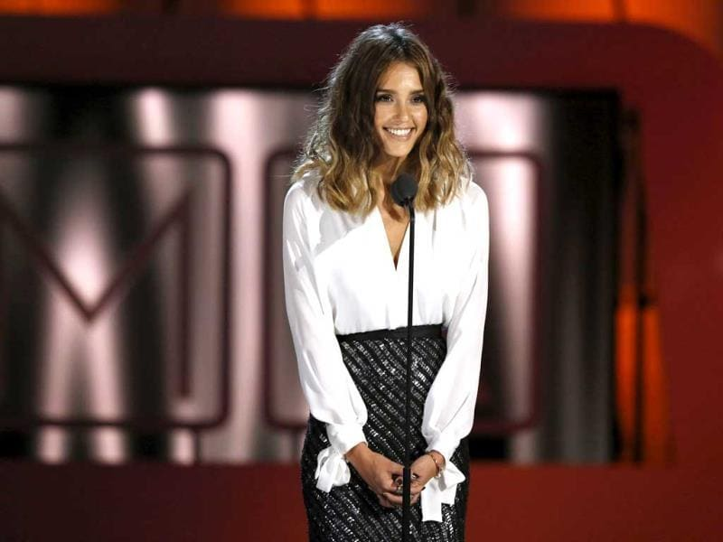 Actress Jessica Alba speaks on stage at the 2013 NCLR ALMA Awards at the Pasadena Civic Auditorium in California. (Reuters Photo)