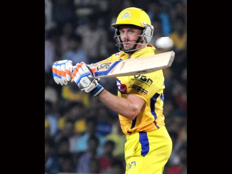 Chennai Super Kings Michael Hussey plays a shot during the CLT20 match against Brisbane Heat's in Ranchi. (PTI Photo)