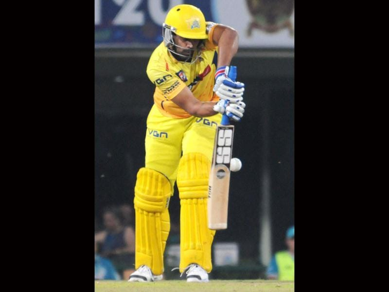 Chennai Super Kings Murali Vijay plays a shot during the CLT20 match against Brisbane Heat's in Ranchi. (PTI Photo)