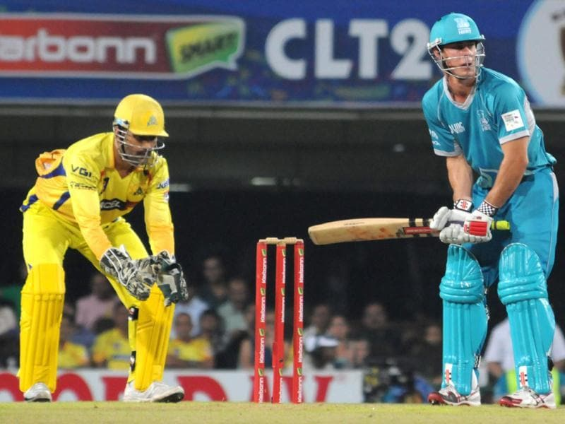 Brisbane Heat's D Christian plays a shot against Chennai Super Kings during the CLT20 match in Ranchi. (PTI Photo)