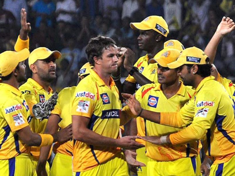 Players of Chennai Super Kings celebrate after taking wicket of a batsman of Brisbane Heat during CLT20 Match in Ranchi. (PTI Photo)