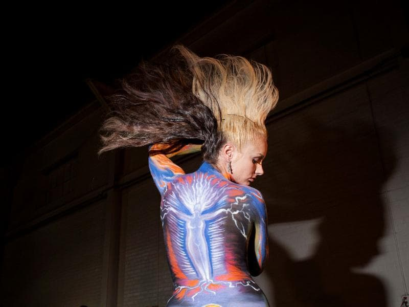 A model poses during the body painting competition, the first sanctioned World Bodypainting Association event held in the US. (AP Photo)