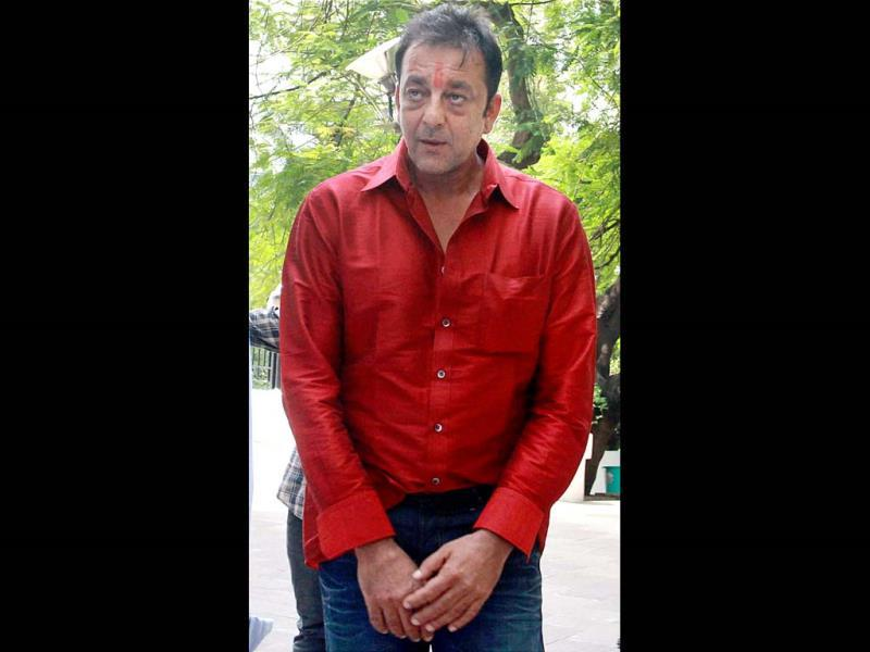 Sanjay Dutt at his residence in Mumbai after he was granted a two-week parole by Pune's Yerawada Central Jail authorities for medical reasons. (PTI)
