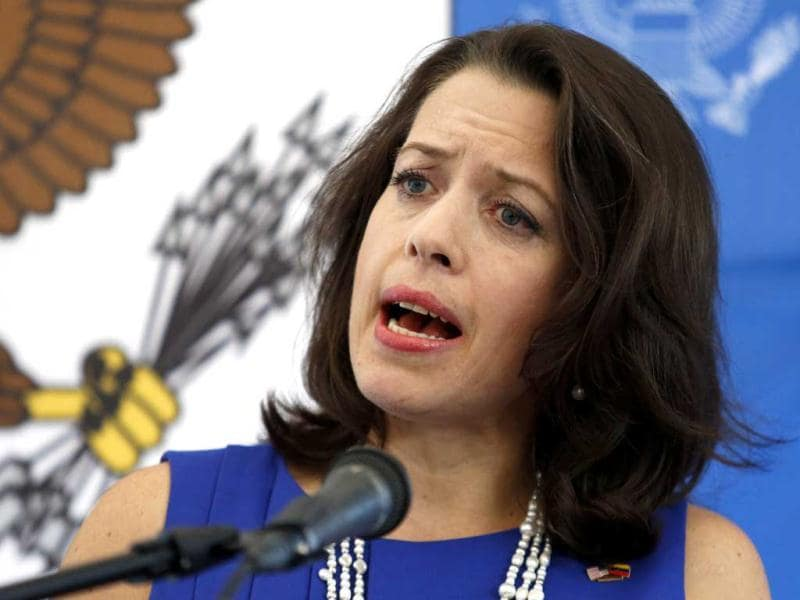 US Charge d'Affaires Kelly Keiderling talks to the media during a news conference at the US embassy in Caracas. (Reuters)