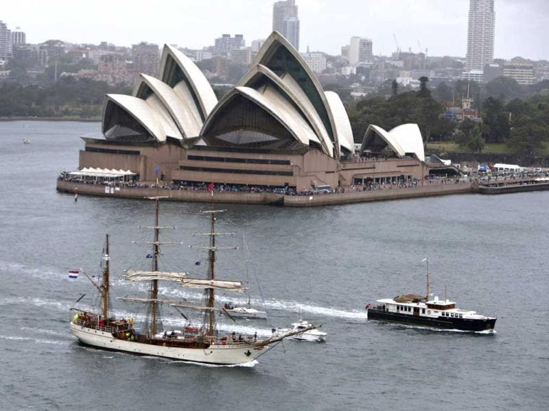 The fleet review marks the centenary of the first entrance into Sydney by the Royal Australian Navy's fleet. (Reuters Photo)