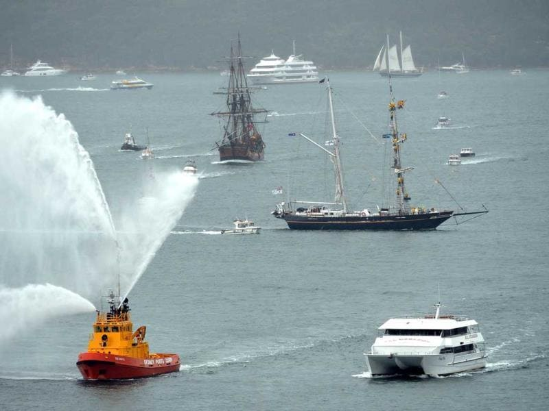 Ships from countries including China, Thailand, the US, Malaysia and former colonial power Britain will pass through the heads into Sydney Harbour for the International Fleet Review. (AFP Photo)