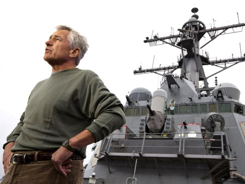 US secretary of defence Chuck Hagel answers questions while speaking to sailors aboard the USS Stethem (DDG 63) destroyer at Fleet Activities Yokosuka, a US Naval base in Yokosuka, outside of Tokyo.(Reuters photo)