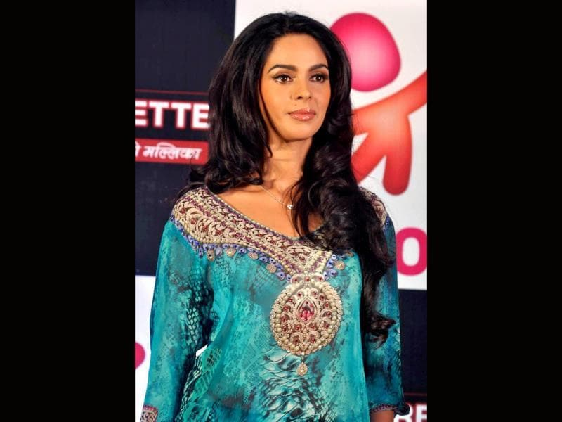 Mallika Sherawat during the promotion of her show The Bachelorette India. (AFP Photo)