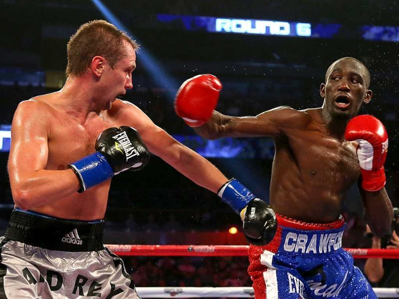 Terrence Crawford throws a punch against Andrey Klimov of Russia during a NABO Lightweight Title fight at Amway Center in Orlando, Florida. (AFP/Getty Images)