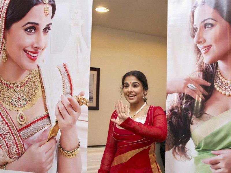 Vidya Balan Kapoor at a jewellery launch event in Thane, Mumbai on Saturday. (PTI Photo)
