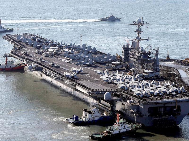 US nuclear-powered aircraft carrier USS George Washington at the southeastern port city of Busan, South Korea. (AFP Photo)
