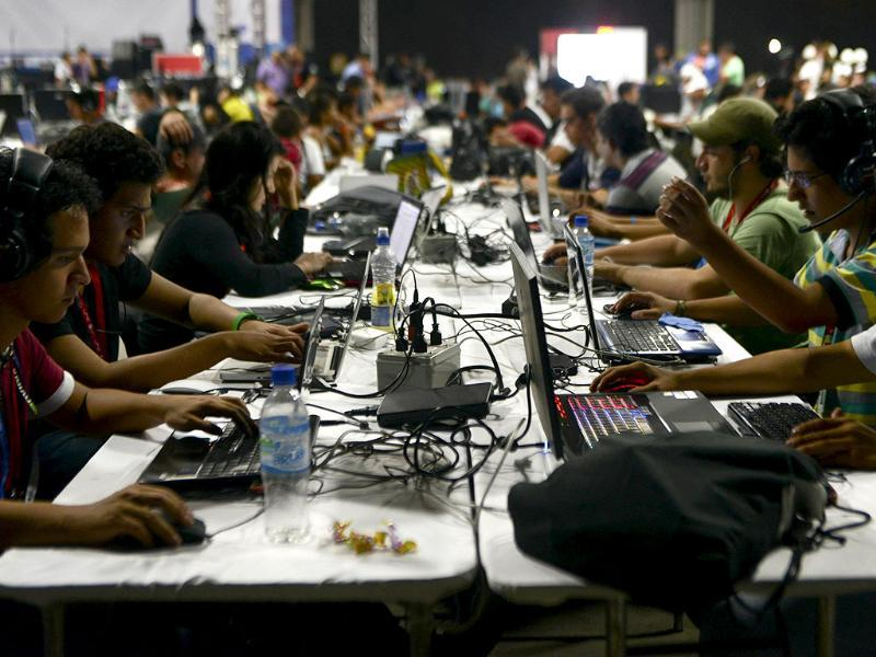 People attend the sixth edition of Colombia's Campus Party in Medellin, Colombia. (AFP Photo)