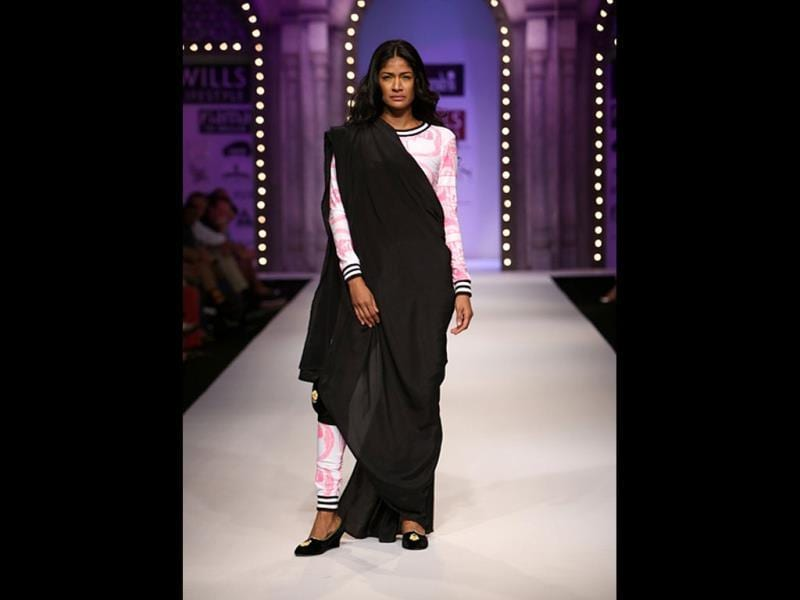 Masaba teamed up Banarasi zari with contemporary print.