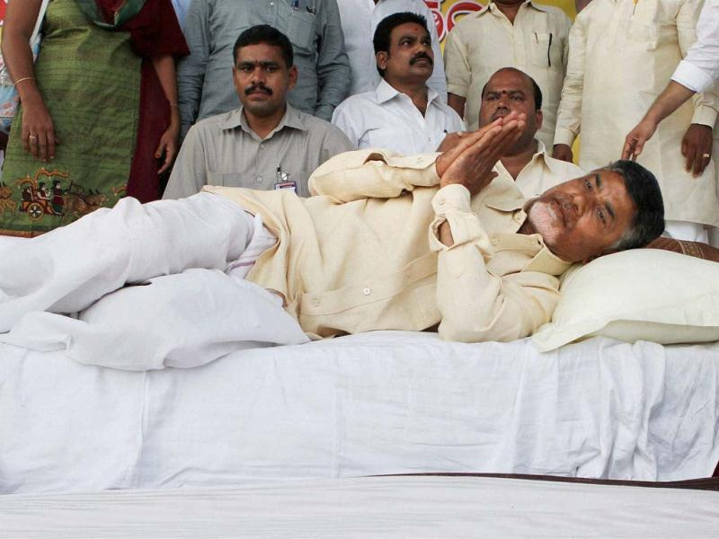TDP president N Chandrababu Naidu's indefinite fast to protest Centre's decision to bifurcate Andhra Pradesh entered the second day at Andhra Bhawan in New Delhi.(PTI photo)
