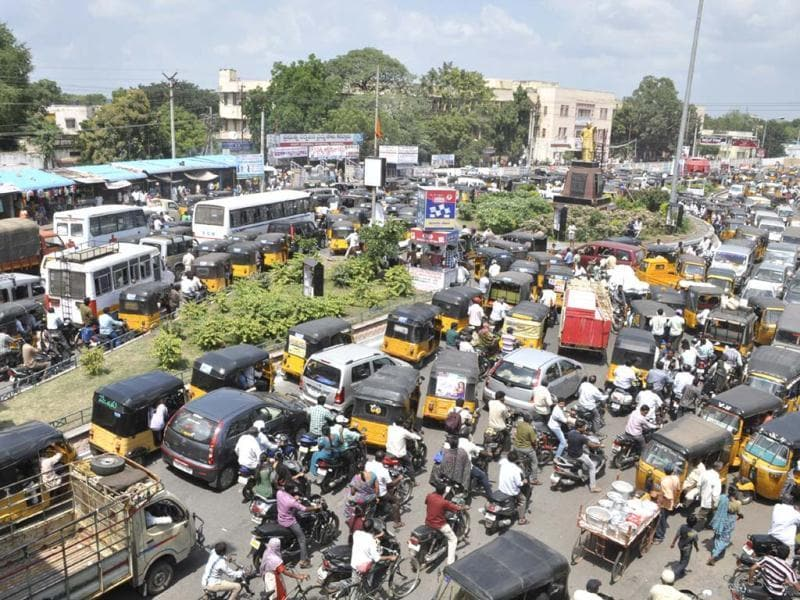Traffic comes to a halt following protests by supporters of united Andhra Pradesh at Karnool district in Andhra Pradesh. (AP Photo)