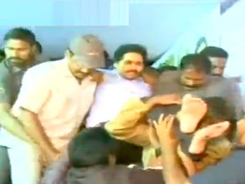 YSR Congress leader Jagan Reddy being taken into preventive custody by the police in Hyderabad. (TV grab)