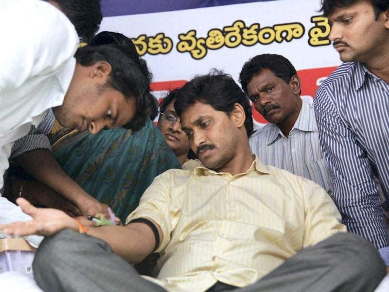 Jagan Reddy, on an indefinite fast to protest the bifurcation of Andhra Pradesh, was taken into custody on Wednesday. (PTI photo)