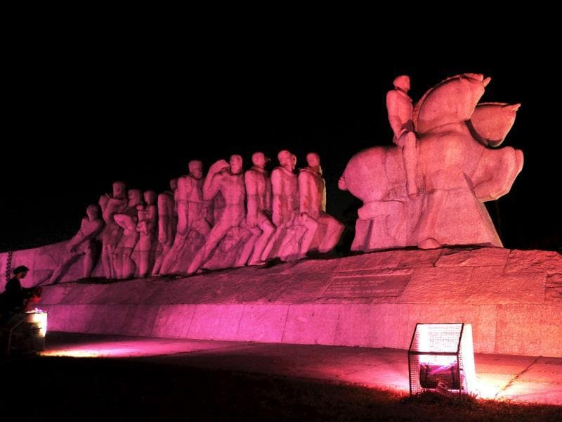 The Bandeiras monument lit in pink as part of a Breast Cancer Awareness campaign in Sao Paulo, Brazil. (AFP Photo)