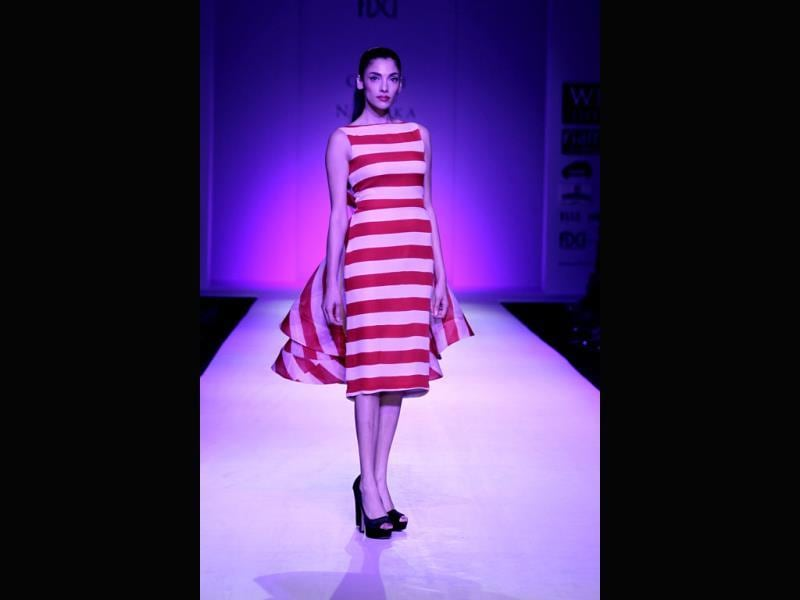 A stripy dress by Guari and Nainka.
