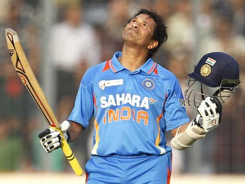 Master blaster Sachin Tendulkar celebrates his 100th century during the Asia Cup cricket match against Bangladesh in Dhaka in 2012. (PTI Photo)