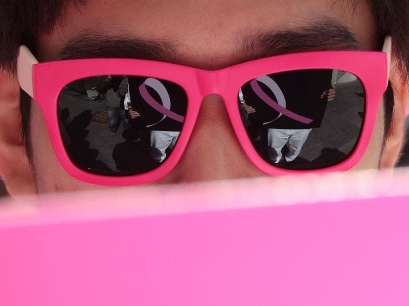 A supporter of the Breast Cancer Awareness Campaign in Seoul, South Korea. (AP Photo)