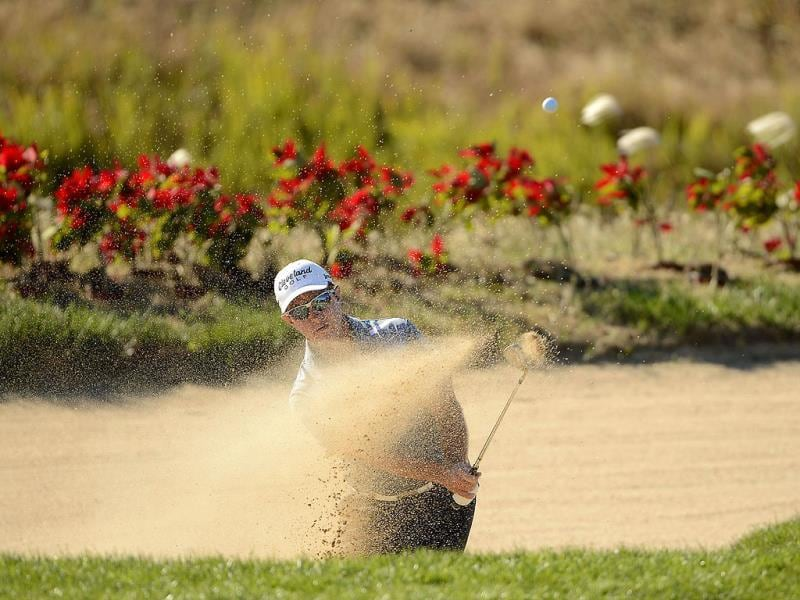 Scott Laycock of Australia taking a shot during the second round of the Nanshan China Masters at the Montgomerie Course, Nanshan International Golf Club, China. (AFP Photo)