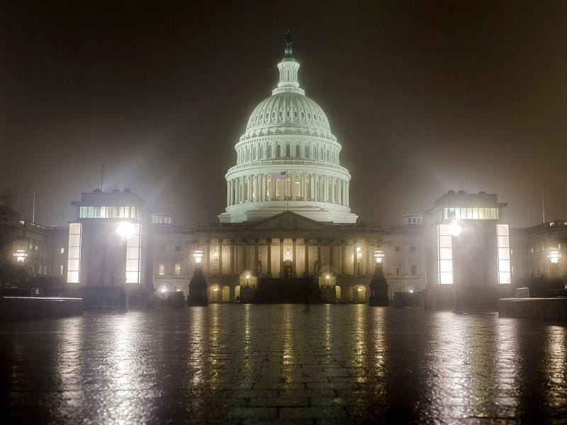 Lawmakers continue negotiations in to the night in the US Capitol Building in Washington DC. (AFP Photo)