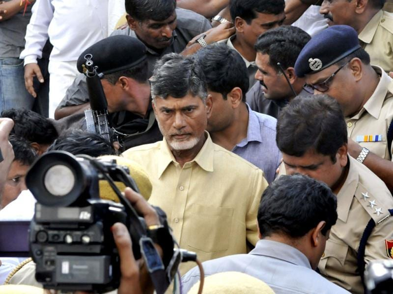 Telugu Desam Party chief N Chandrababu was forcibly evicted from Andhra Bhavan by police and taken to a hospital on the fifth day of his indefinite fast against bifurcation of Andhra Pradesh in New Delhi. (HT photo/Mohd Zakir)
